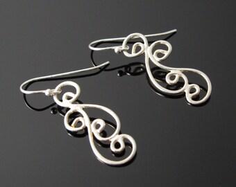 Earrings, Drop Handcrafted Sterling Earrings Metalwork
