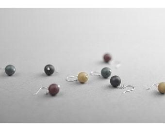 Clay pearl earrings, Ceramic earrings Pearl earrings Silver earrings Black earrings Minimalist earrings Chic earrings Birthday gift-boohua