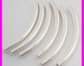 3mm x 38mm Sterling Silver curve liquid tube moon shape arch eblow spacer S338