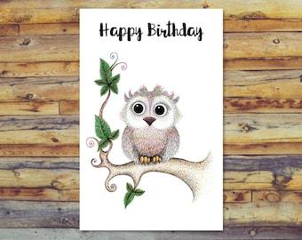Doberman printable birthday card digital download cute dog owl birthday card printable cards happy birthday digital download blank cards bookmarktalkfo Choice Image