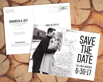 Wedding Full Image Save the Date Card with Photo Printable Rustic Save the Date Template Full Photo Collage Save the Date Postcard Template