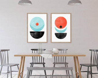 Geometric Art Print Set of 2, Scandinavian Prints, Minimalist Posters, Abstract Wall Art, Mid Century Modern Wall Decor, Danish Modern Print