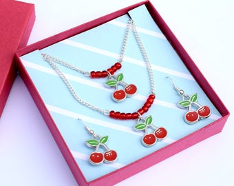 Rockabilly Cherry Necklace Bracelet and Earring Set 1950s Retro Kitsch