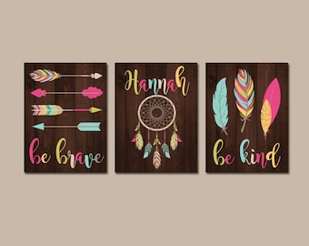 TRIBAL Girl Nursery Art, Baby Girl Boho Nursery Wall Art, Tribal Girl Bedroom, Feather Arrows, Be Brave Be Kind, Set of 3 Canvas or Prints