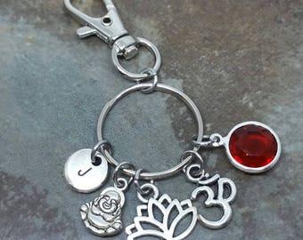 Buddha, Lutus Flower, Ohm, Om bag charm, zipper pull