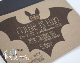 Halloween party invitation - Halloween Birthday party invites - Boo Bat Halloween-Halloween invitation - printable halloween party invite