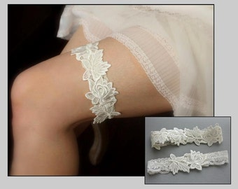 "Lace Wedding Garter SET, Lace Garters, Toss Garter, Keepsake Garter, Ivory Off White or White Garter, Vintage Inspired Wedding  - ""Brynn"""
