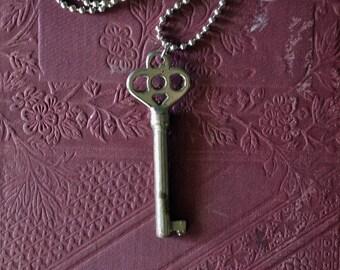 Ornate Skeleton Key Necklace - Antique Key Pendant - Key To My Heart Necklace - Authentic Skeleton Key Necklace - Silver Skeleton Key