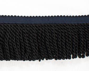 Black Fringe with Blue Ribbon