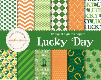 St. Patrick's, Lucky Day Digital Paper for Scrapbooking