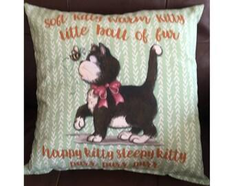 Green Soft Kitty Throw Pillow