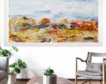 abstract painted by Rita Perotti print on canvas set large blue oil painting acrylic original art abstract acrylic painting modern art oil