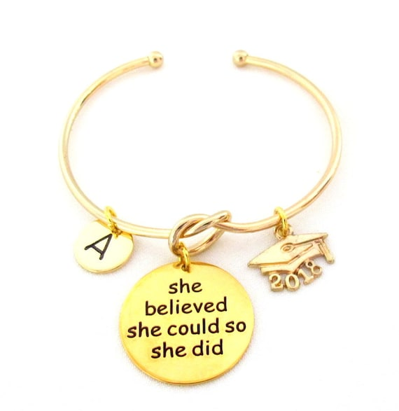 2018 Graduation gift,She Believed She could so She did, Gold Grad Bangle, Gift for Her, College Grad, Senior Student Grad, Free Shipping USA