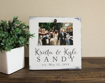 Rustic Wedding Gift - Personalized Picture Frame – Farmhouse Décor – Rustic Photo Holder – White Picture Frame – Newlywed Gift – Wood Frame