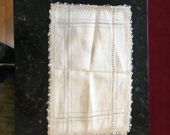 "Crocheted edge  Vintage (Qty 2) TABLE PLACE MATS - 20"" x 12""  Off-White Linen  or Table Runner"