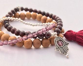 garnet mala stack bracelets with hamsa and tassel, yoga jewelry, tassel bracelet, gemstone bracelet, set of bracelets, wood bracelet, hamsa
