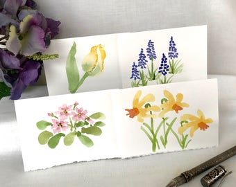 Hand Painted Watercolor Flower Card - Watercolor Floral Notecards - Painted Flower Card - Tulip, Muscari, Primrose, Daffodil - 4 Notecards