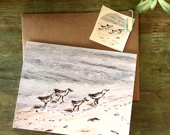 Shore birds card and envelope seal, mother's day, watercolor | 5.5 x 4 inch (13.9 x 10.1 cm) blank card w/ matching envelope