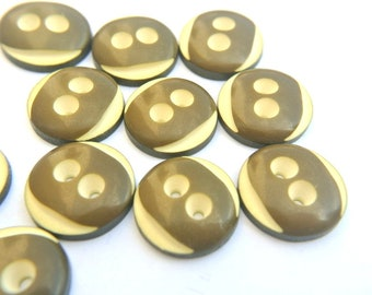6 Vintage buttons deep olive green with white colors 18mm, high quality