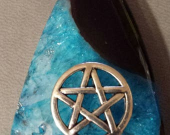 1 Pick Me Stone Pendant black aqua pentacle  rhinestone  embellished  gemstone  Pm#72 NEW ITEM