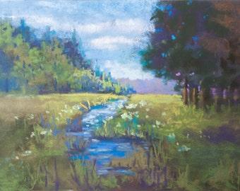 Marsh Original Pastel Painting