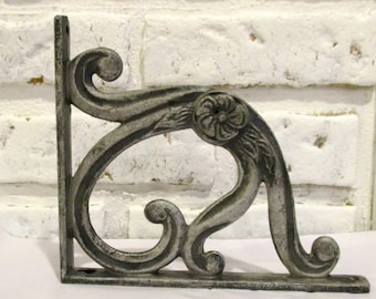 Vintage Shelf Bracket Cast Iron Silver Black Grey Iron Corbels Floral Swirl Scroll Design