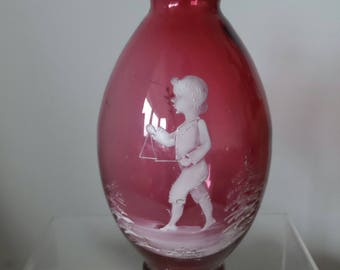 Mary Gregory glass ruby red vase