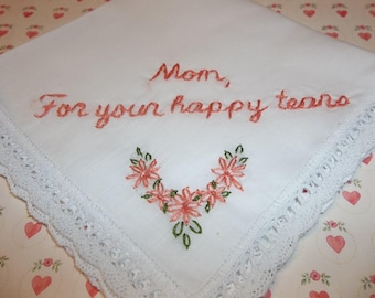 mother of bride, mother of groom, for happy tears, wedding handkerchief, gift for mom, coral and green, keepsake hanky, bride to mom gift