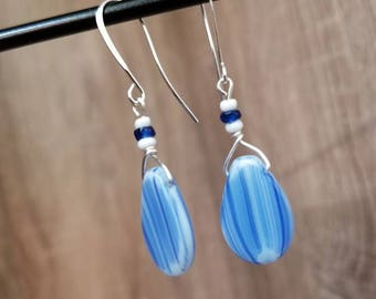 Silver Plated, Blue & White Glass Bead, Drop Earring
