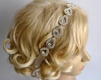 SALE Gorgeous Rhinestone Headband,Great Gatsby Headband,Crystal Wedding Bridal tie on ribbon Headband Headpiece, 1920s Flapper headband