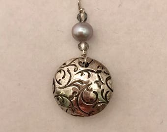 Puffy Textured Silver, Pearl and Czech Bead Pendant