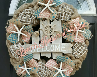 Beach wreath, Nautical wreath, Seashell wreath, Burlap wreath, Welcome wreath, Summer wreath, Coral wreath, Turquoise wreath, Beach decor