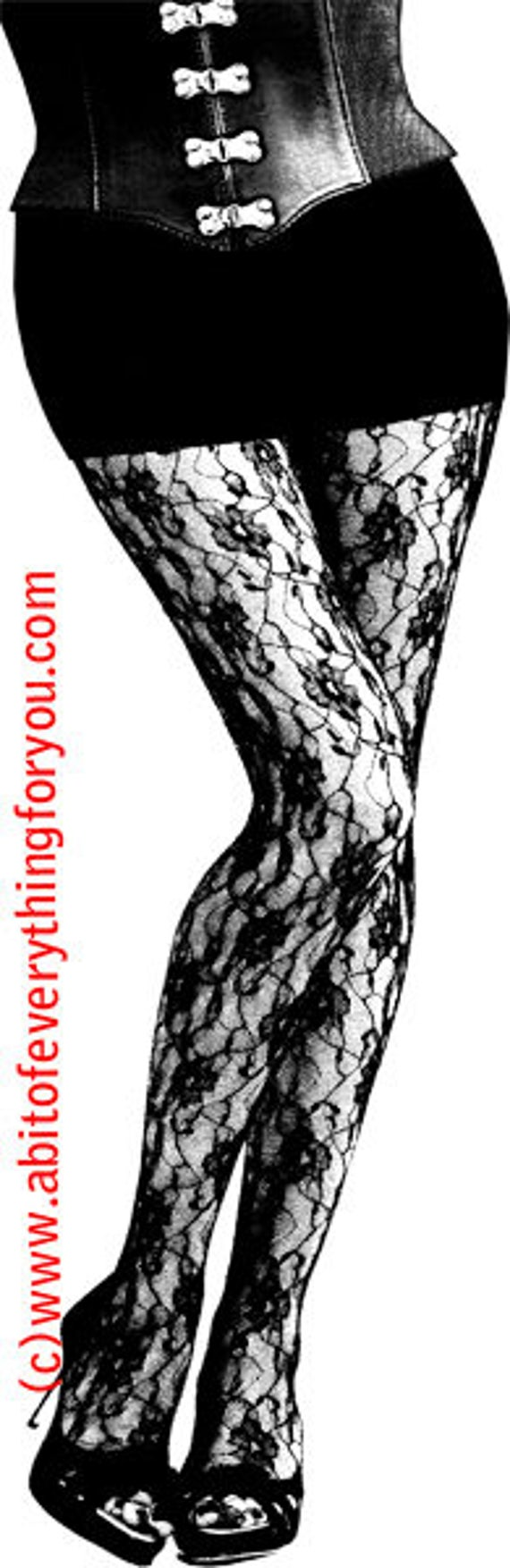 black floral lace stockings clipart png printable art instant download digital image goth fashion graphics corset womens legs high heels