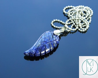 Lapis Lazuli Gemstone Angel Wing Pendant Necklace Natural Chakra Healing Stone FREE UK SHIPPING