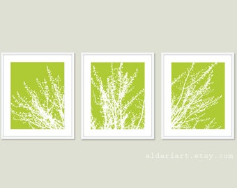 Modern Spring Tree Branches Wall Art - Tree Triptych Wall Art - Tree Branches Art Prints - Modern Decor - Green Art - Custom Color