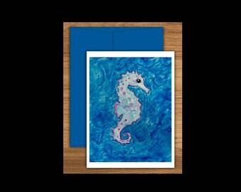 Seahorse Greeting Card Set of 10, Seahorse Cards, Beach Cards, Ocean Cards, Blank Greeting Cards, Blank Cards, Blank Notecards, Notecards
