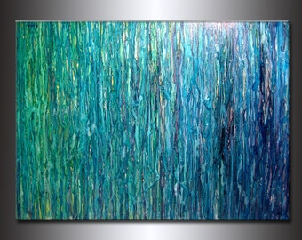 Abstract Painting, Contemporary Fine Art,  Modern Blue, Green Abstract by Henry Parsinia  Oversize