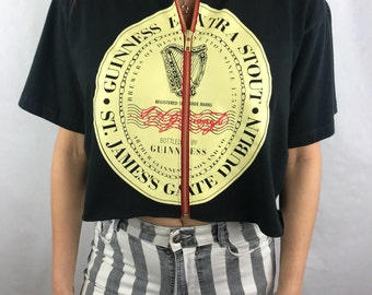 Vintage Guinness Cropped Zip-Up Tee (M)