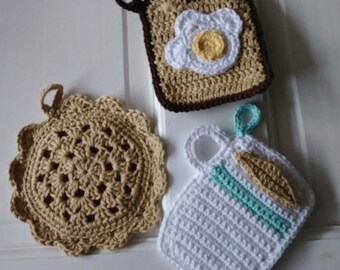 Crochet foodie pot holder set, toast egg coffee cherry pie pot holder set, crochet pot holder, kitchen decor, hostess gift, coffee trivet