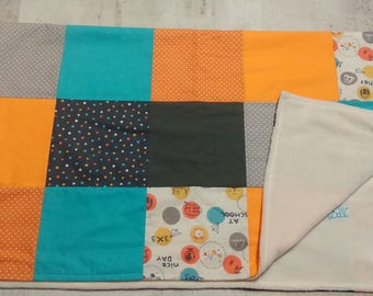 Colorful patchwork double minky baby blanket