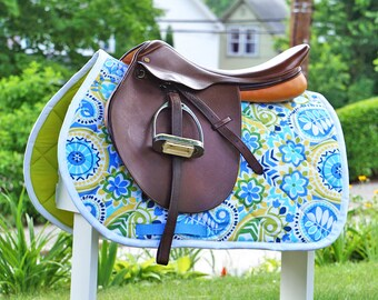 Custom Saddle Pad Blue Floral Paisley - MADE TO ORDER