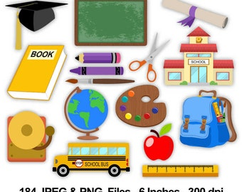 School Clipart - 184 png and jpeg files 300 dpi 6 inches - School Images, School Crafting,