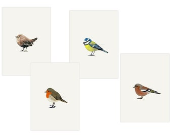 Set of 4 bird postcards