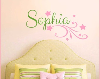 Personalized Girl's Name with Stars Vinyl Wall Decal Set, Baby Nursery, Girl's Room, Teens Tweens NM-128