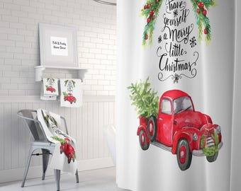 Christmas Red Truck With Tree Shower Curtain Bath Mat, Towels, Have Yourself A Merry Little Christmas
