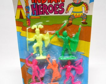 Indian Heroes Plastic Toy Figurines NOS Made in Hong Kong Vintage 1970's