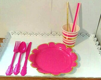 PINK OMBRE PARTY.  Pink and gold party supplies. Pink and gold tableware.