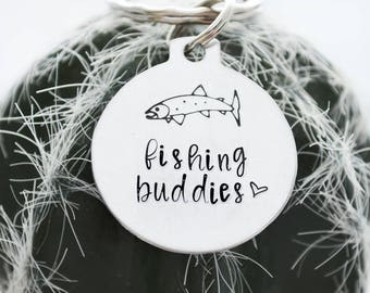 Fishing Buddy Keychain, Fish Keychain, Fishing Gifts for Dad, Fishing Buddy Coming Soon, Daddy's Best Catch Keychain, Hand Stamped Dad Gifts
