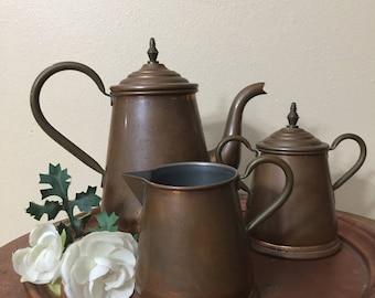 Copper teapot, tea service, tea set, copper tray, Daalderop copper,Holland, sugar bowl, creamer, antique  tea set, coffee  pot, kitchen ware