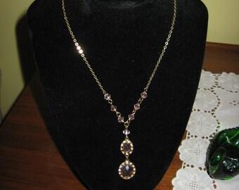 """Vintage Avon Pink Stone """"Y"""" Necklace"""